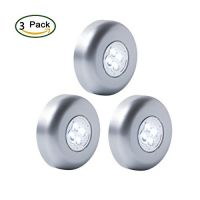 """[Latest Version]Ledinus Large Size Super Bright 4-LED Touch Tap Push Stick on Anywhere Under Closets Cabinet Night Light Lamps(3.4"""" Silver),3-Pack"""