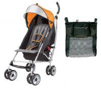 Summer Infant 3D Lite Convenience Stroller with Parent Tray Organizer, Tangerine