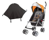 Summer Infant 3D Lite Convenience Stroller with Rayshade UV Sun Protector, Tangerine